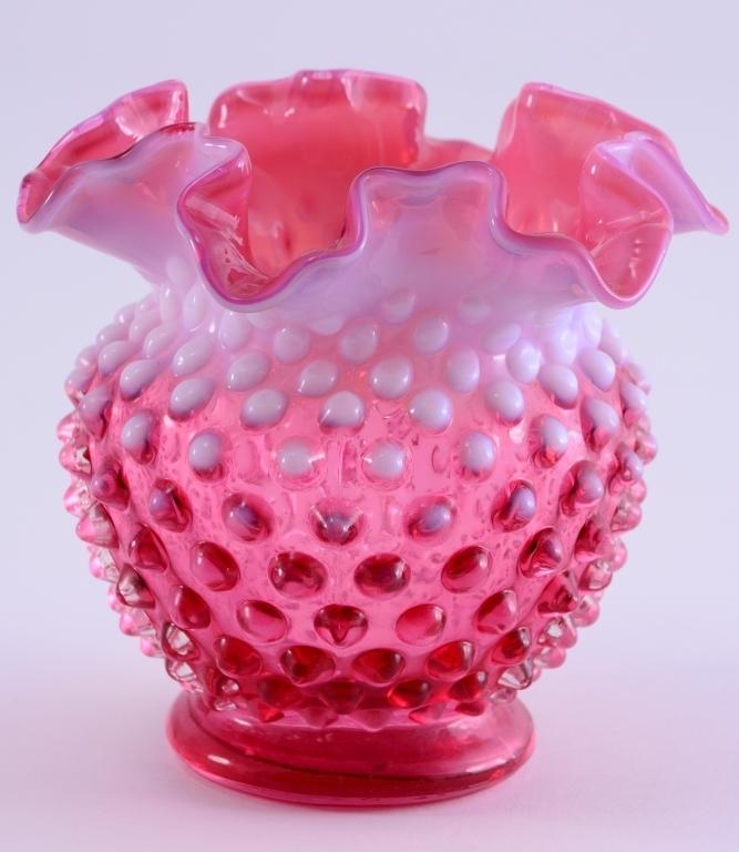 Cranberry Opalescent Hobnail Vase