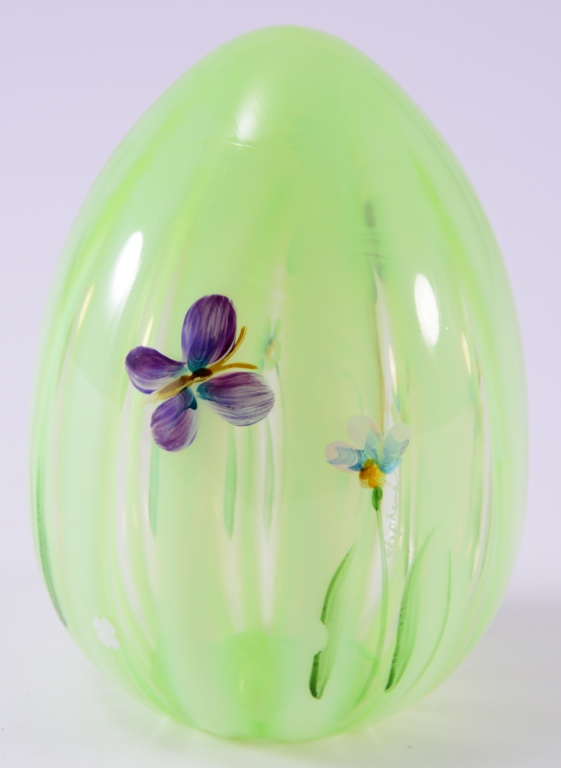 Fenton Handpainted Glass Egg