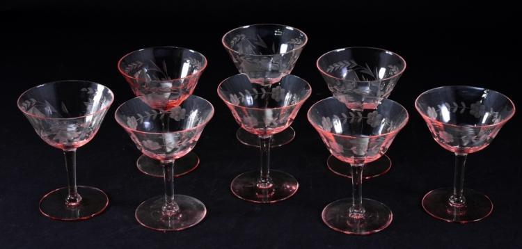 8 Etched Pink Champagne/Sherbets