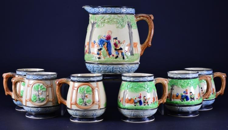 Japanese Ceramic Pitcher & 6 Mugs