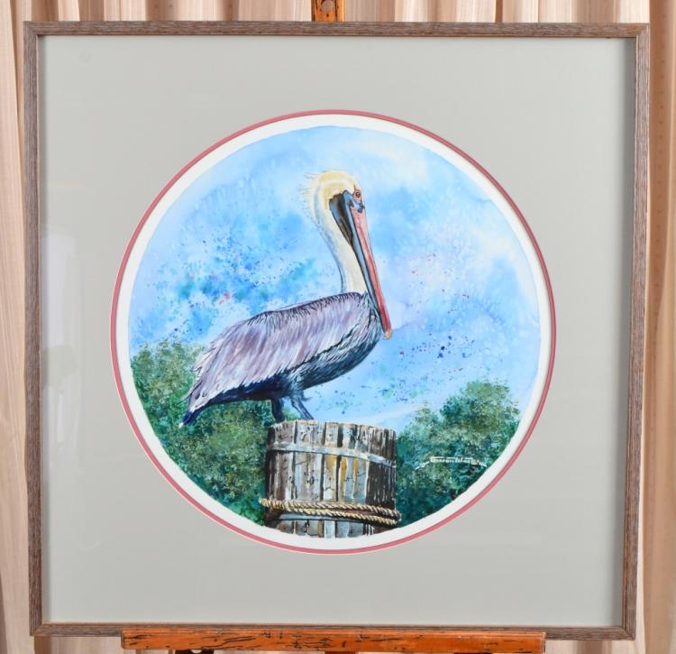Gordon Wheeler Pelican Original Watercolor