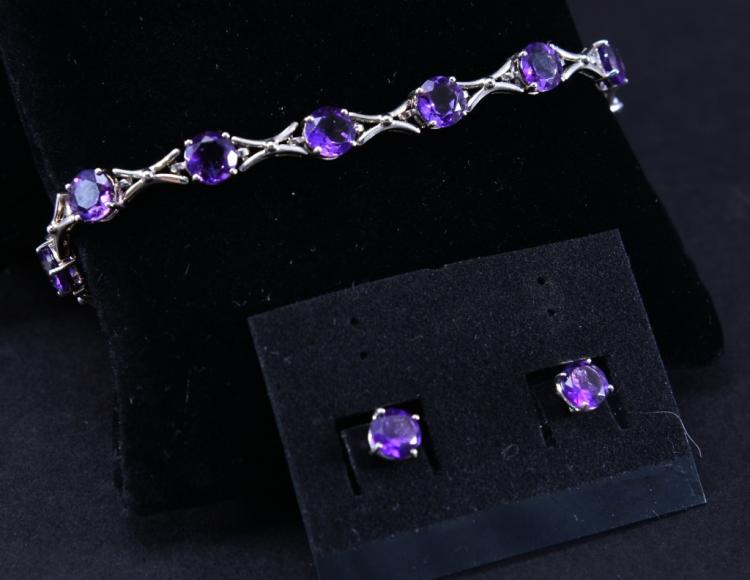 Sterling Amethyst Bracelet & Earrings