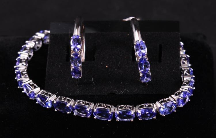 Sterling Tanzanite Bracelet & Earrings