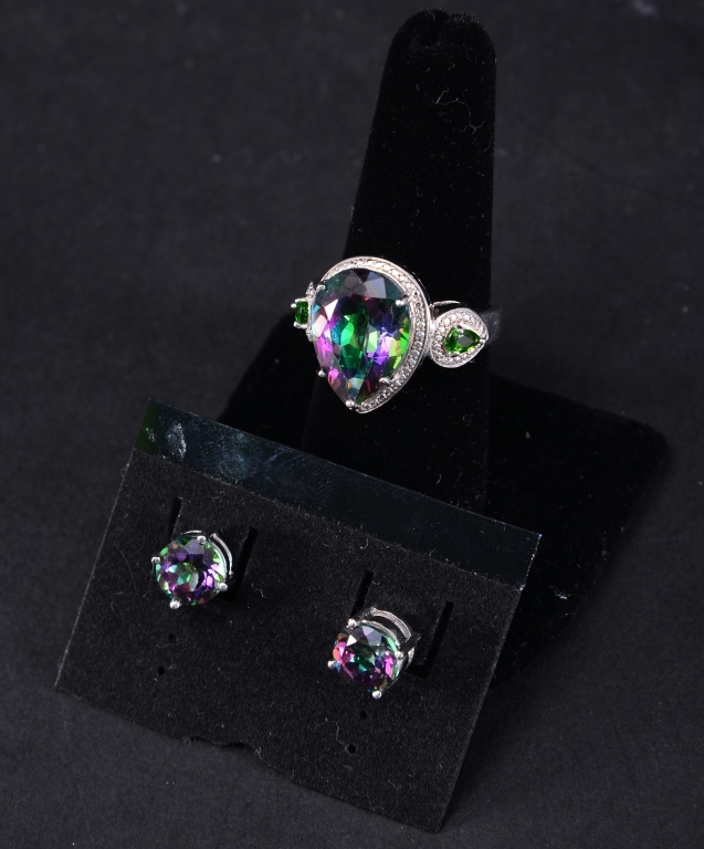 Sterling Mystic Topaz Ring & Earrings