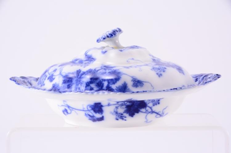 English Flow Blue Virginia Covered Dish