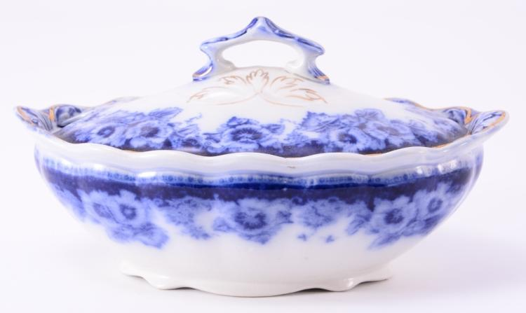 English Flow Blue Small Sutherland Tureen