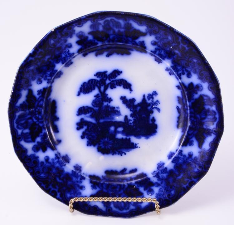 Flow Blue H & C Chusan Plate
