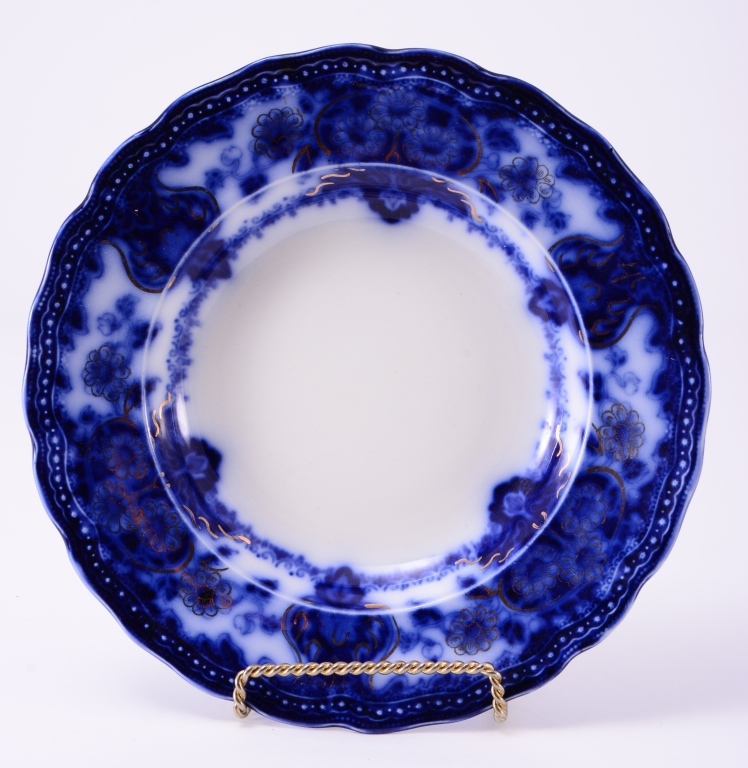 English Flow Blue Seville Royal Shallow Bowl