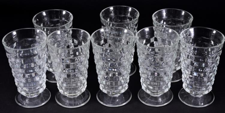 8 Indiana Whitehall Iced Tea Glasses