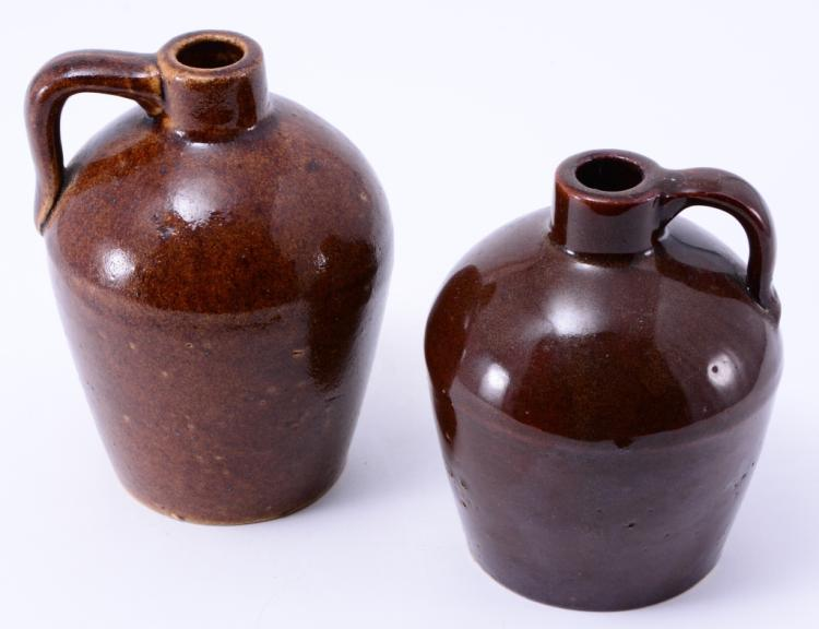 Two Small Brown Roycrofters Jugs