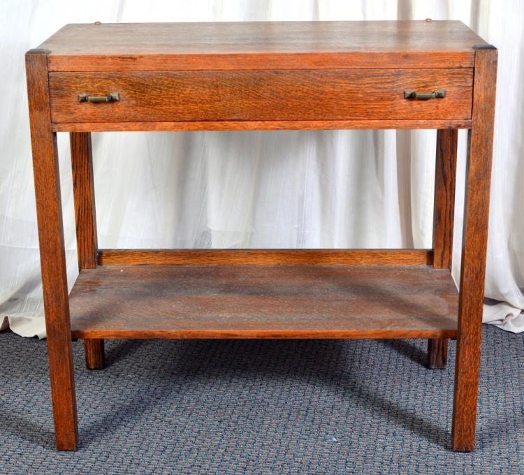 Arts & Crafts Style Solid Oak Library Table