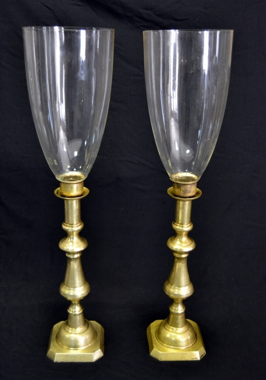 Pair Brass Candlesticks with Hurricane Shades