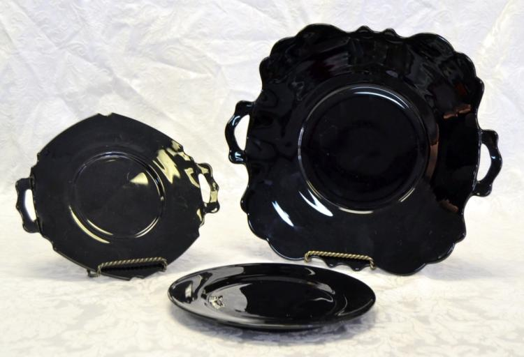 Black Amethyst Glass Plates
