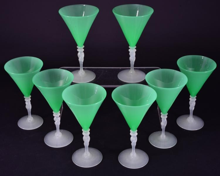 8 Handblown Green Steuben Wine Glasses