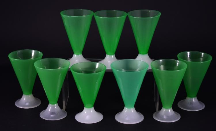 9 Handblown Green Steuben Tumblers