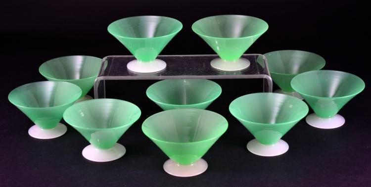 10 Handblown Green Steuben Sherbet Glasses