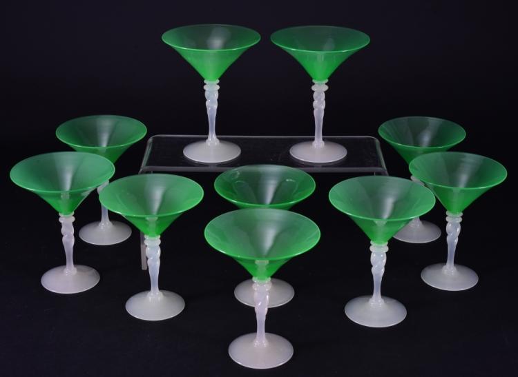 10 Handblown Green Steuben Martini Glasses