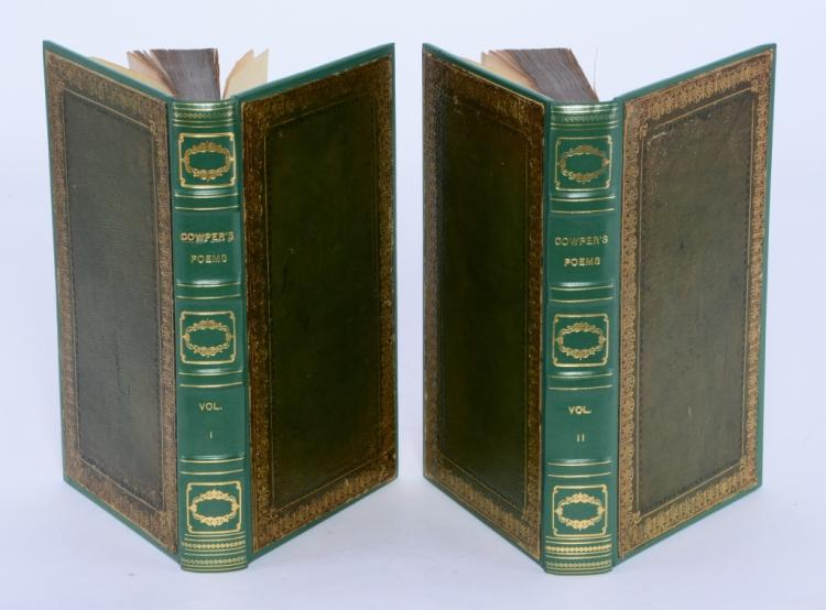 Wm. Cowper Poems in 2 Vol. w/Fore Edge Paintings