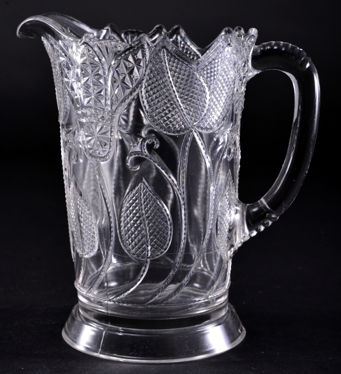 Vintage Floral Pressed Glass Pitcher