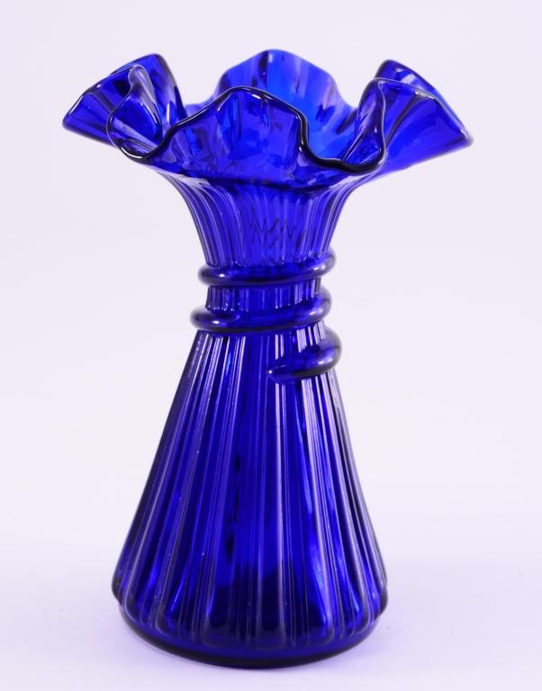 Cobalt Blue Vintage Vase w/Rigaree