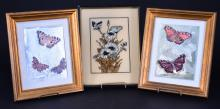 Trio Iridescent Butterfly/Floral Art