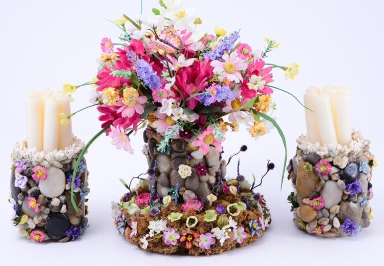 Artificial Flower & Rock Arrangements