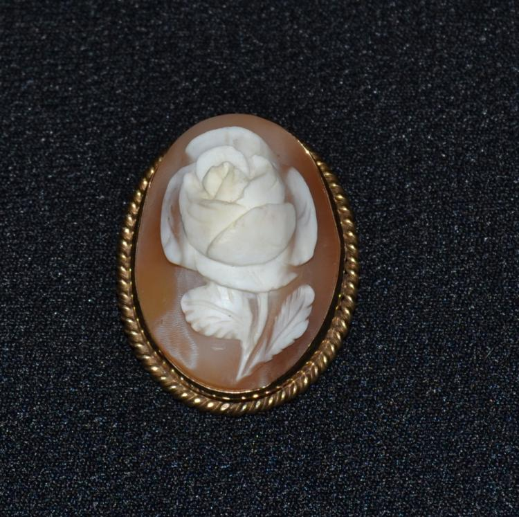 12K GF Carved Cameo Rose Pin/Pendant