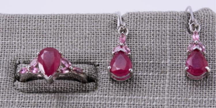Sterling & Ruby Earrings and Ring