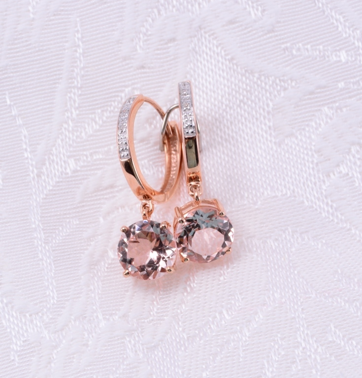 10K Morganite & Diamond Earrings