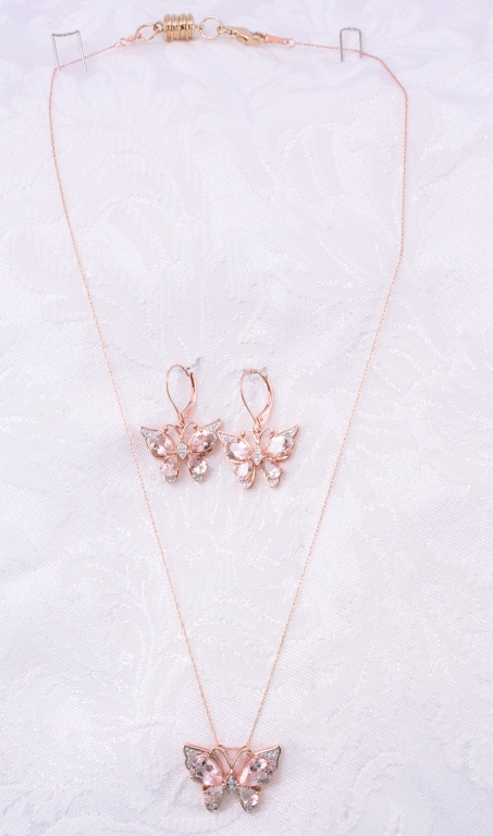 10K Morganite & Diamond Necklace & Earrings