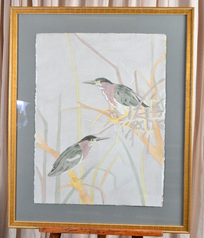 Two Birds and Nest Watercolor
