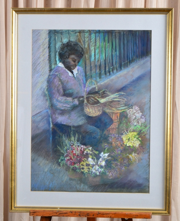 Woman w/Basket of Flowers Pastel Drawing