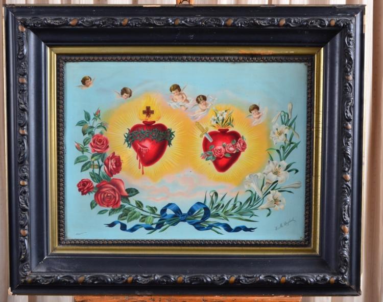 Sacred Heart on Metal by Sr. M. Raphael
