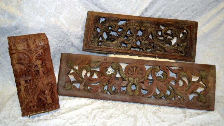 3 Hand Carved Wood Wall Panels