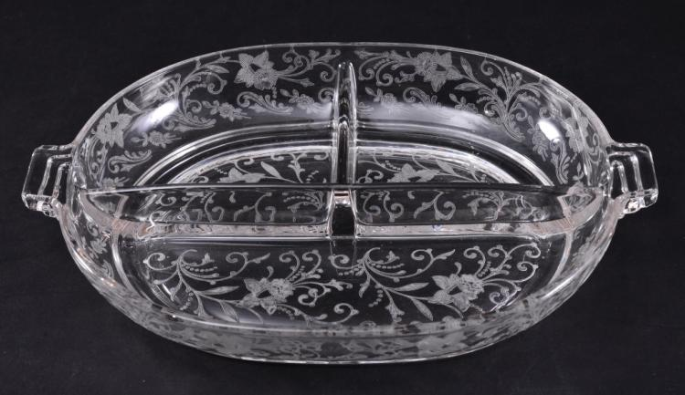 Vintage Etched Divided Dish