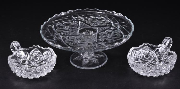 3 Pressed Glass Serving Pieces