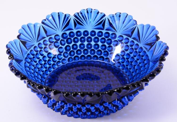 Hobnail Blue Glass Bowl