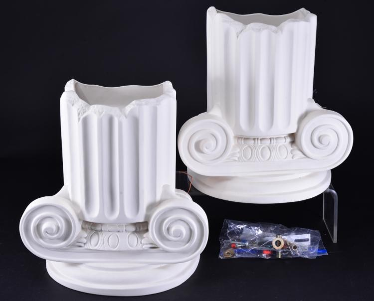 2 Ionic Column Wall Mount Lights