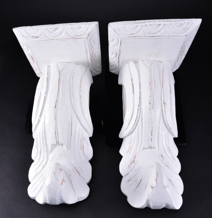 Pair White Wooden Sconces