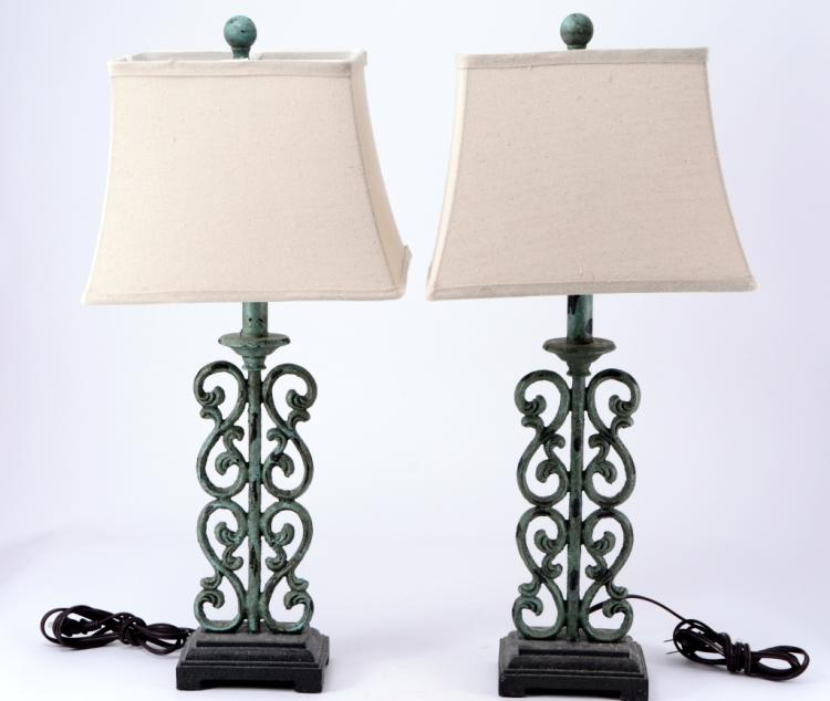 Pair Distressed Green Lamps