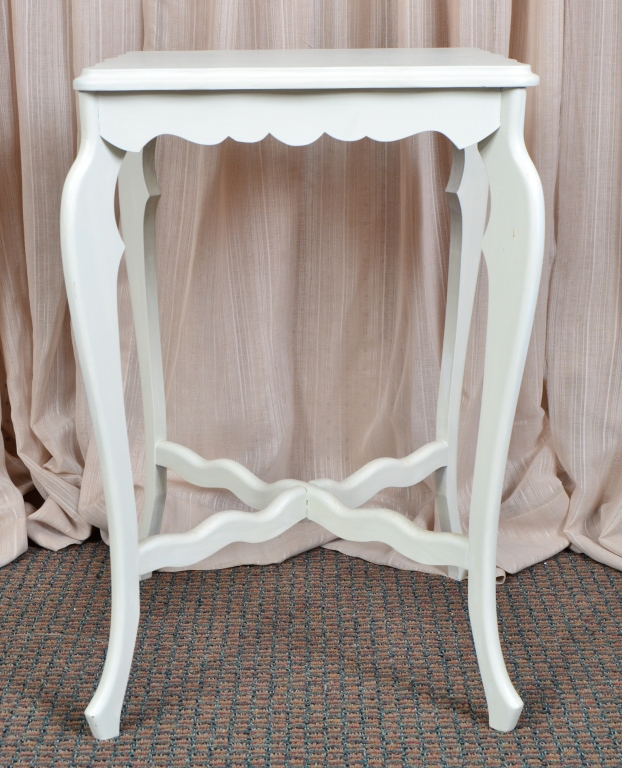 White Painted Side Table w/Scalloped Edge & Apron