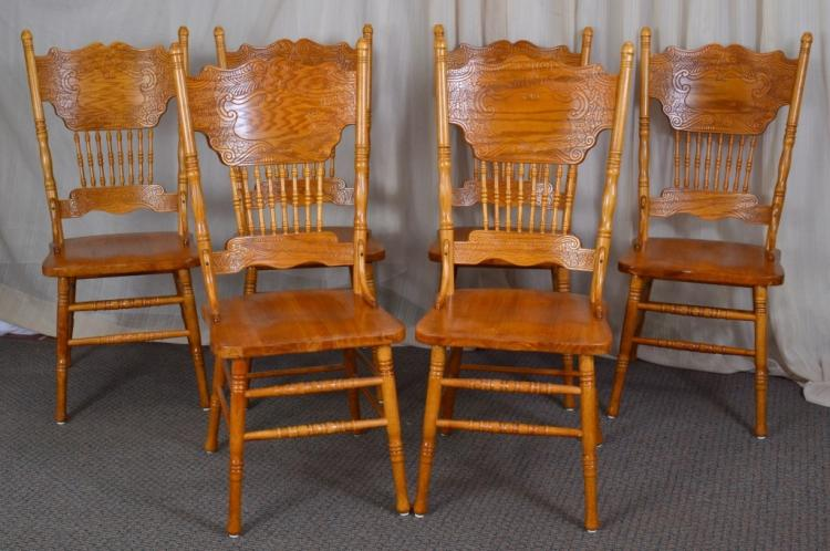 6 Pressed Back Dining Side Chairs