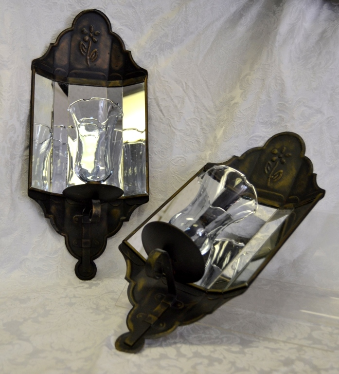 Mirrored Metal Candle Sconces