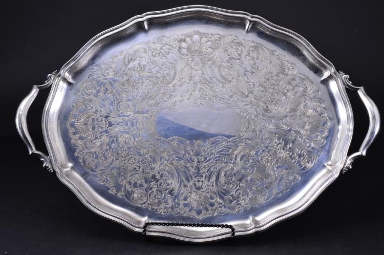 Large Silverplated Double Handled Serving Tray