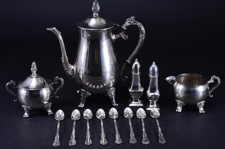 Silverplate Coffee Pot, Creamer, Sugar and More