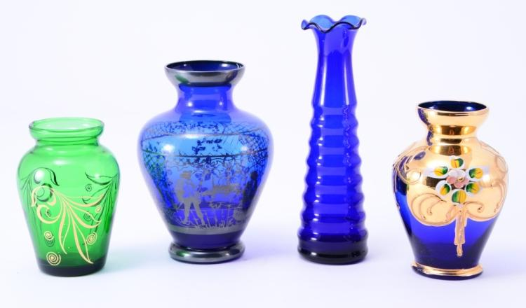4 Small Colorful Glass Vases
