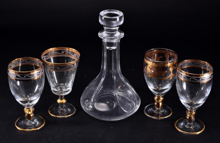 Glass Decanter & Gold Trimmed Wine Goblets