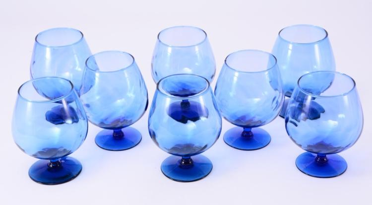 8 Blue Brandy Snifters