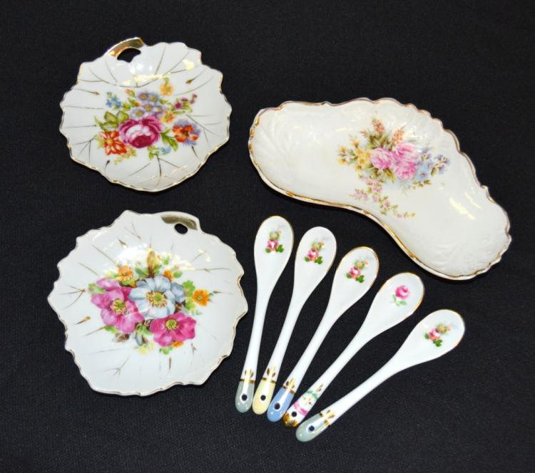 Floral Porcelain Dishes & Spoons