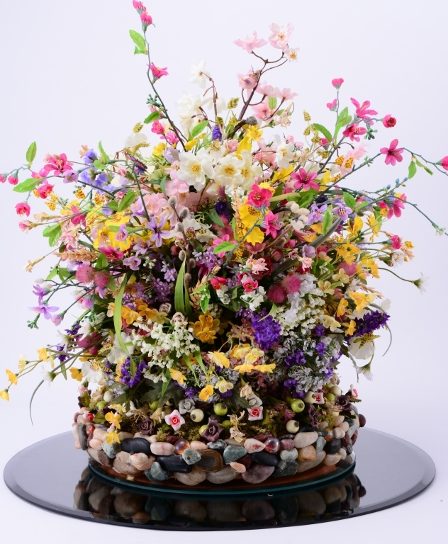 Large Flower Arrangement on Mirror